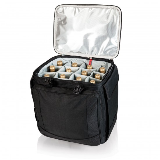 Custom Logo Bodega Insulated Wine Tote Cooler w/ Removable Dividers & Wheeled Trolley
